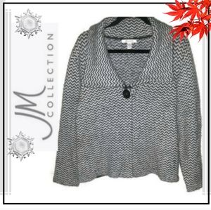 JM Collection Gray Cardigan Sweater XL